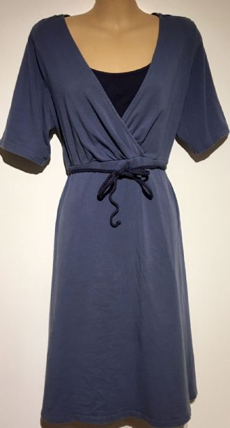 ESMARA BLUE JERSEY BELTED NURSING DRESS SIZE 18-20
